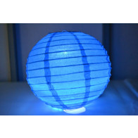 Papír lampion LED 50cm kék-
