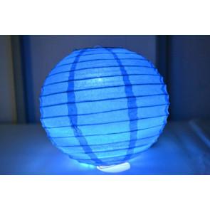 Papír lampion LED 40cm kék