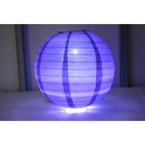 Papír lampion LED 20cm ibolya