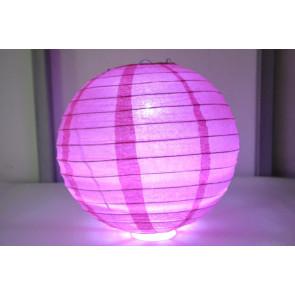 Papír lampion LED 40cm fukszia