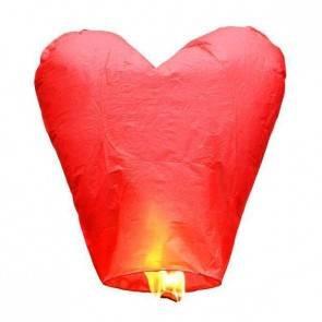 Piros repülő lampion SZÍV STANDARD jókívánság lámpás, Kívánság lampion